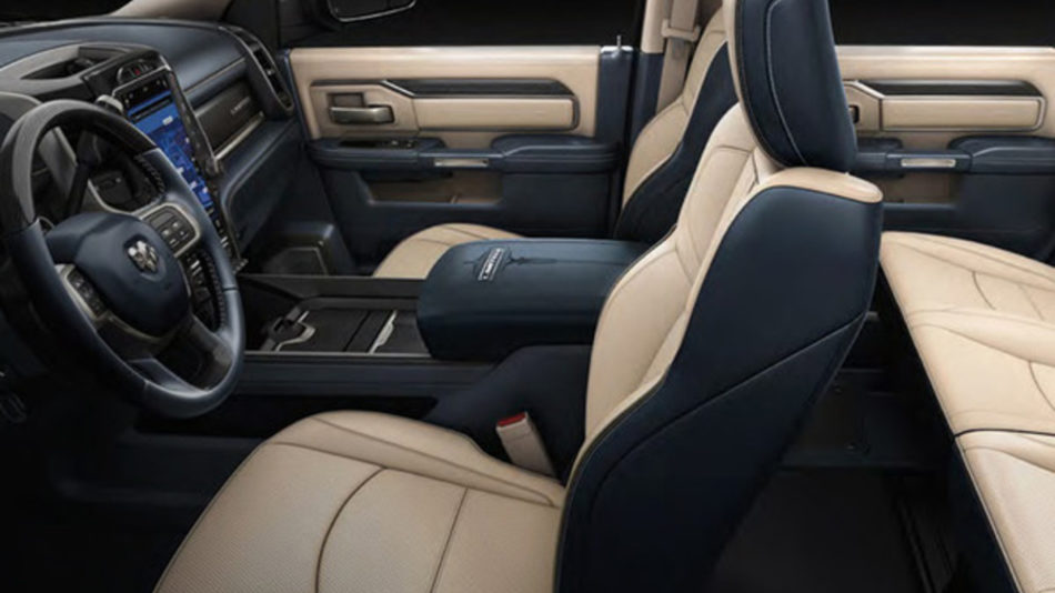 The spacious interior of the RAM 3500, with brown leather seats