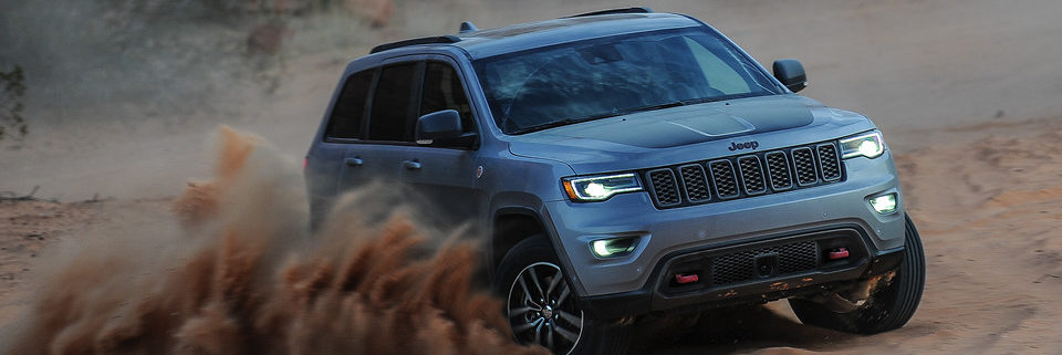 2019 Jeep Grand Cherokee off-roading in sand
