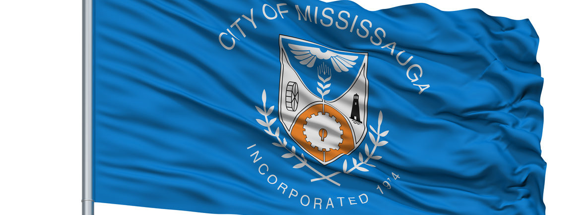 Mississauga City Flag On Flagpole, Canada, Isolated On White Background