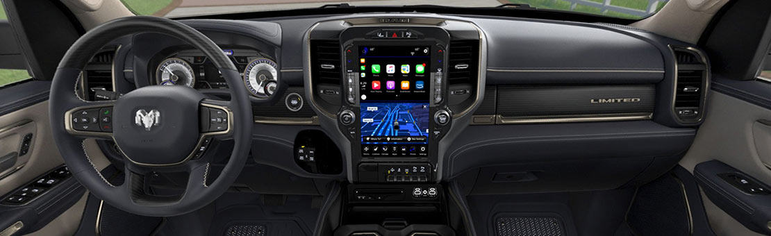 2019 RAM 1500 Interior view on dashboard and steering wheel