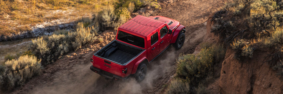 Overhead view of a 2020 Jeep Gladiator driving off-road
