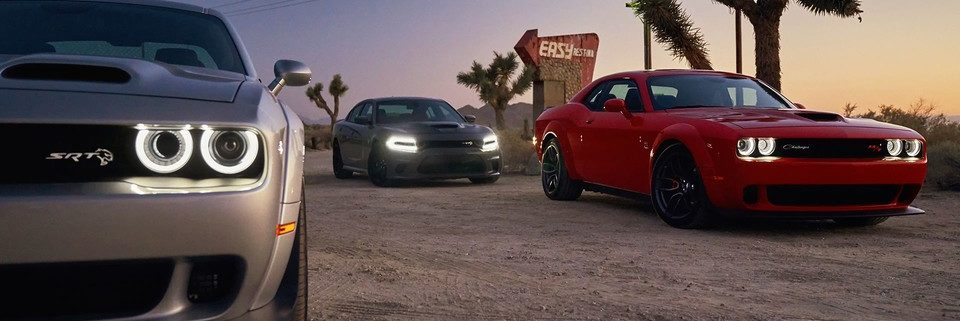 2019 Dodge Challenger lineup on a desert country road