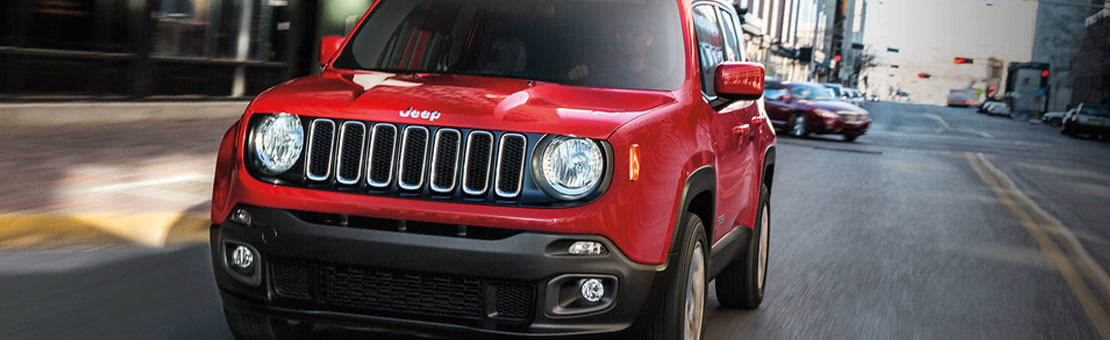Jeep Renegade Red on a road