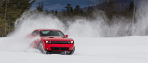 2018 Dodge Challenger drives through snow