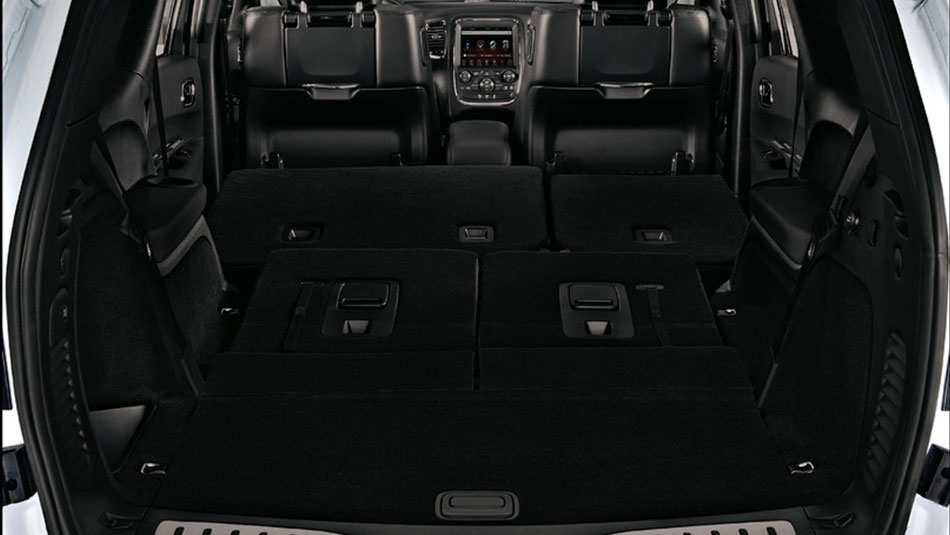 Rear view of the 2019 Dodge Durango cargo space with 2nd and 3rd row seats folded down