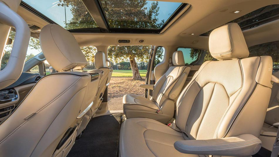 Chrysler Pacifica Hybrid interior view of seating arrangement