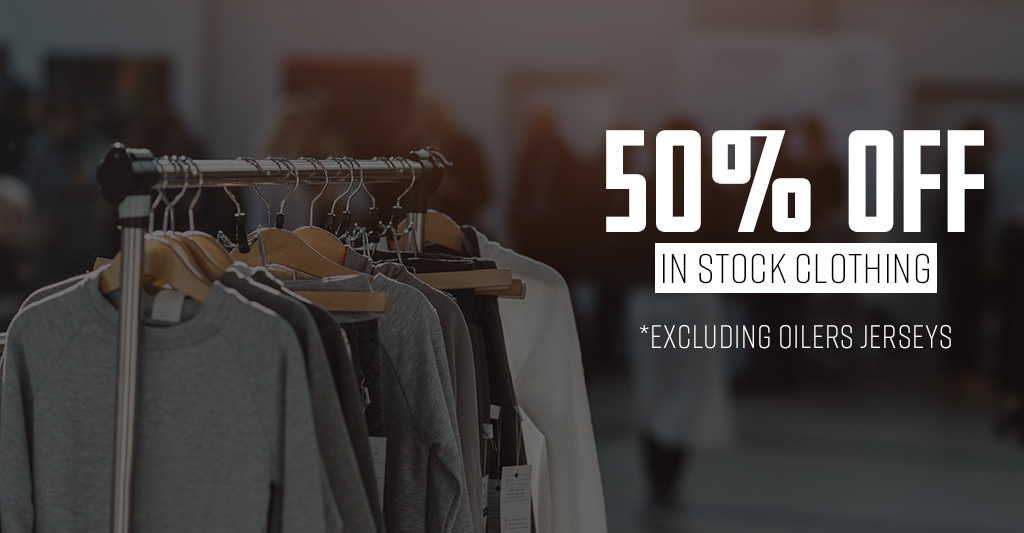 50% off Clothing Coupon with clothes on clothes hangers