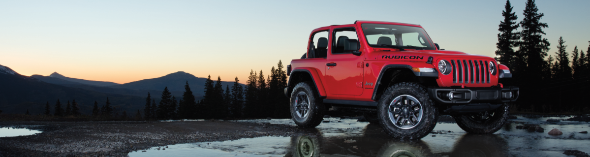 2018 Jeep Wrangler in front of mountains