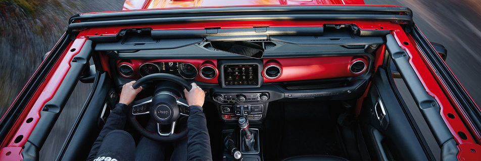 2019 Jeep Wrangler JL view of open top driving