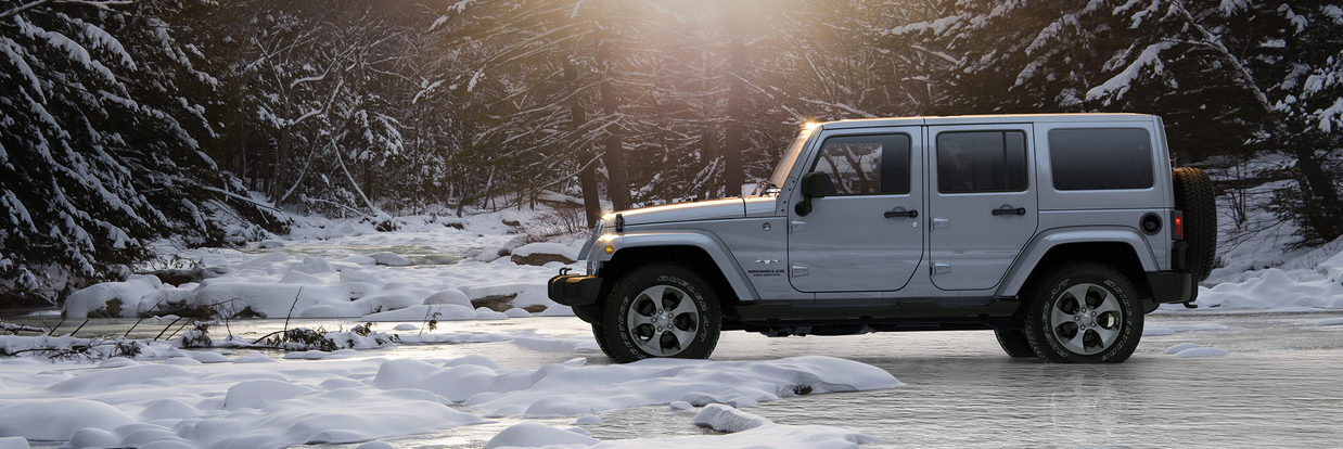2018 Jeep Wrangler parked in a snow covered forest