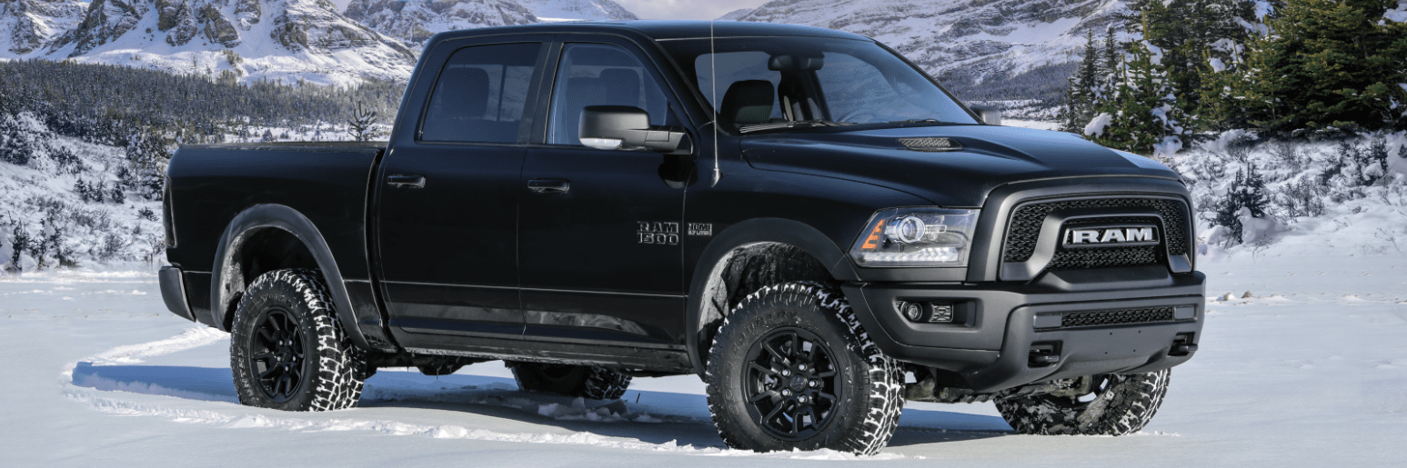 Front right side three quarter view of the 2019 Ram 1500 in winter