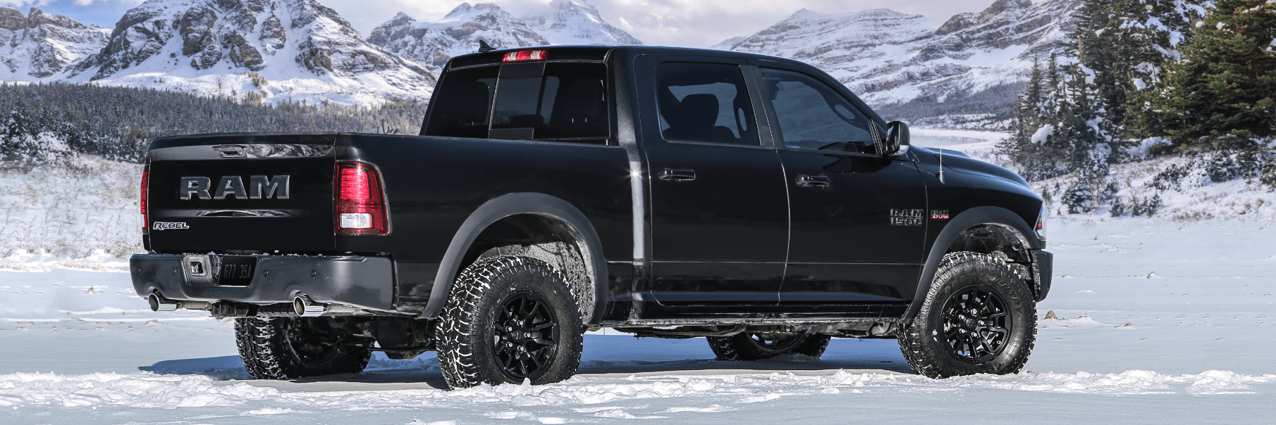 Right side back view of the Ram 1500 in winter