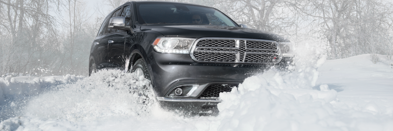 Dodge Durango front in the snow