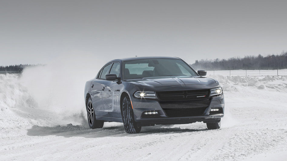 2019 Dodge Charger drifting on the snow
