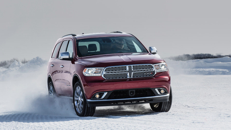 2018 Dodge Durango drifting in the snow