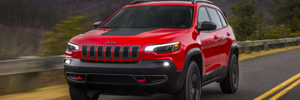 2019 Jeep Cherokee Trailhawk driving on a road in the country