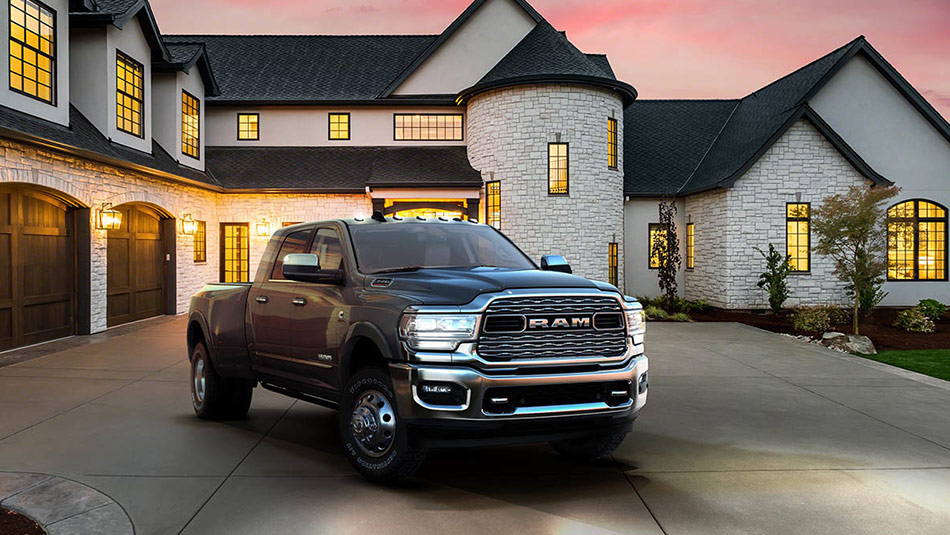 2019 RAM 3500 Exterior view parked in front of luxurious house