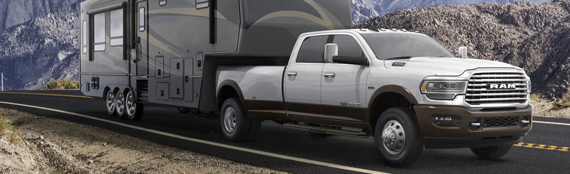 2019 RAM 3500 Exterior view towing a RV