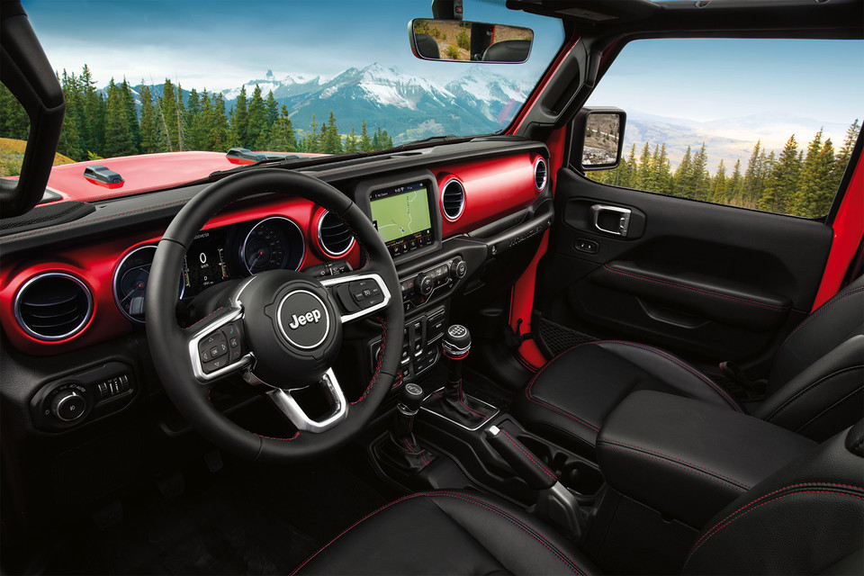 interior shot of the 2019 jeep wrangler JL in red, overlooking the outdoors