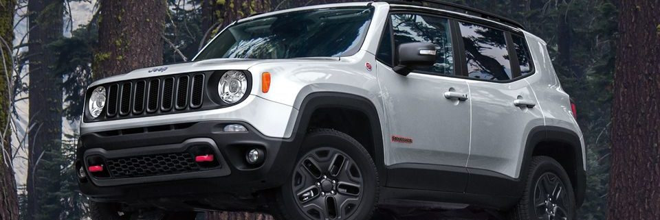 Jeep Renegade parked on a bluff