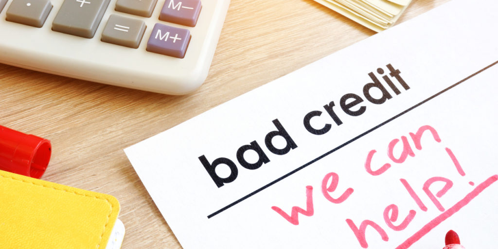 Document bad credit with sign we can help.