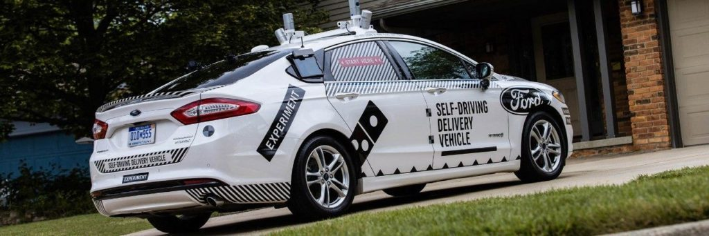 Ford Fusion Hybrid Autonomous delivering Dominos Pizza