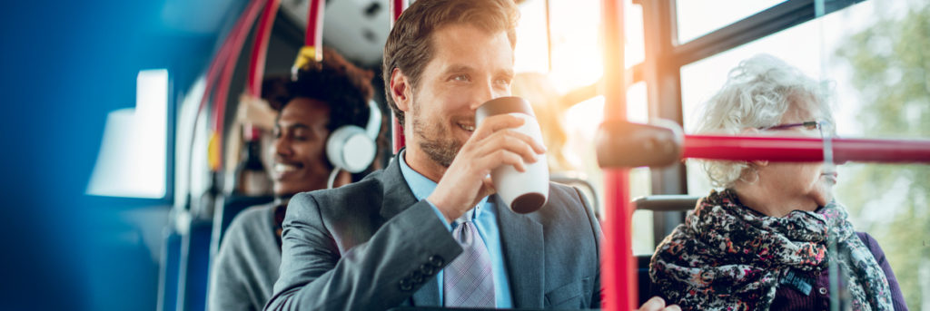 Close up of a businessman drinking coffee