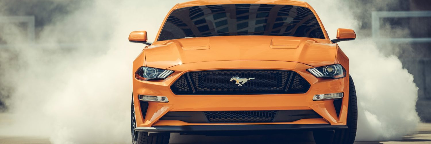 2019 mustang with rear tires burning rubber