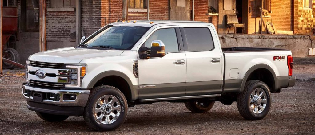 Super Duty King Ranch Crew Cab in White Platinum with Stone Grey lower accent paint