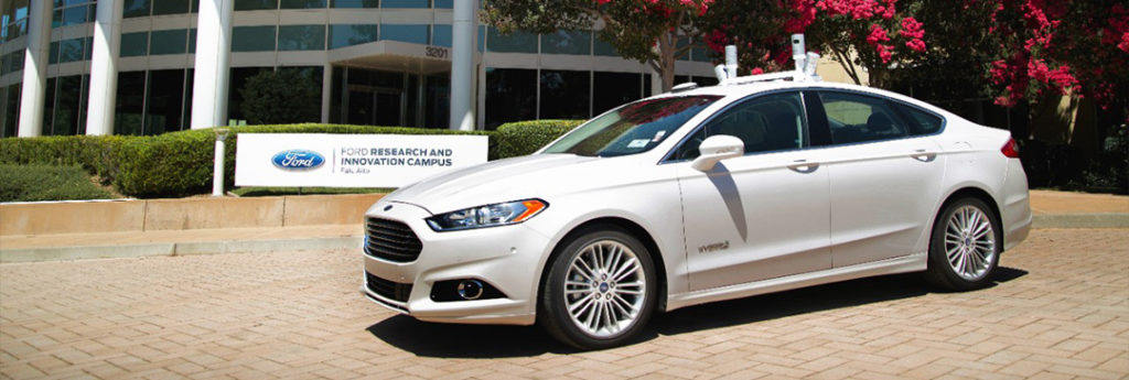 Ford Fusion Hybrid Autonomous parked in fort of Ford research and development