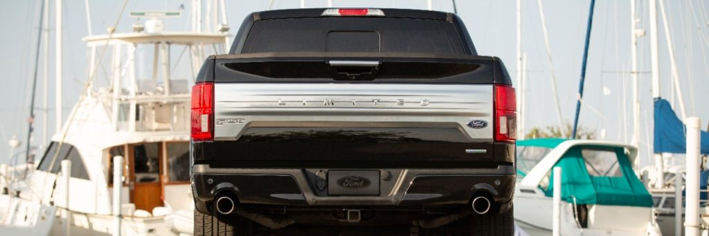 The all-new 2019 Ford F-150 Limited rear end and truck bed door