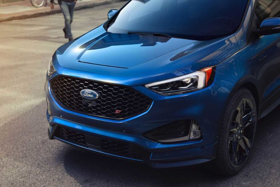 2019 Edge ST shown in Ford Performance Blue with the front grille in view