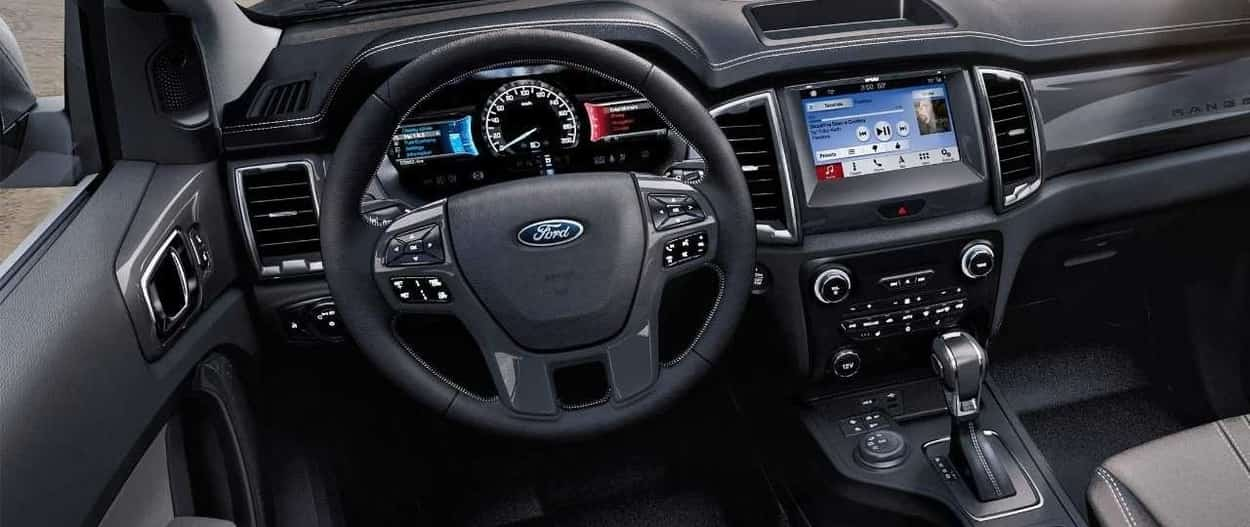 2019 Ford Ranger Lariat interior with SYNC 3 infotainment system