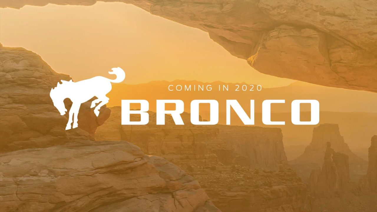 "The ""coming soon"" logo of the 2020 Ford Bronco with a bronco horse beside the text ""coming in 2020 Bronco"""