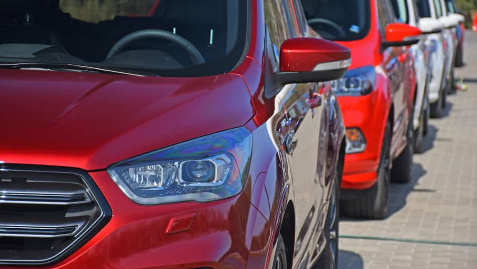Ford Edge models lined up from front to back