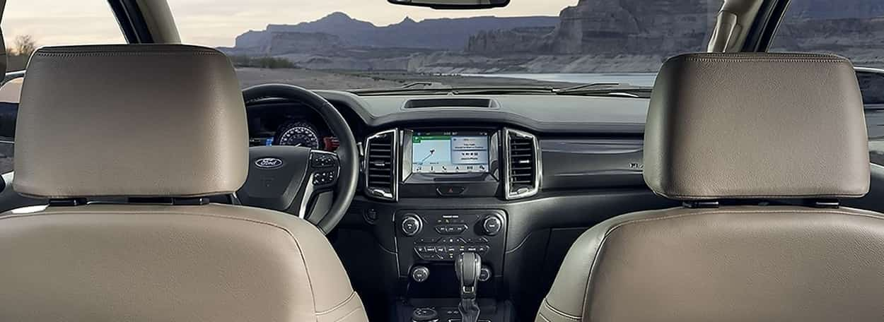 Interior of the Ford Ranger with leather seats and SYNC® 3 system