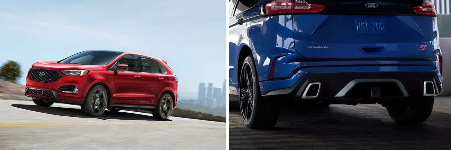 Red Ford Edge ST driving on the left, Blue Ford Edge ST rear on the right