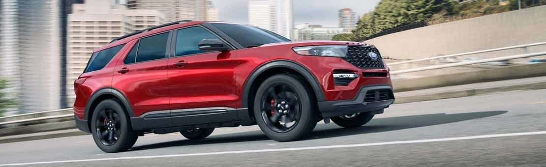 The stylish new 2020 Ford Explorer ST in Lucid Red