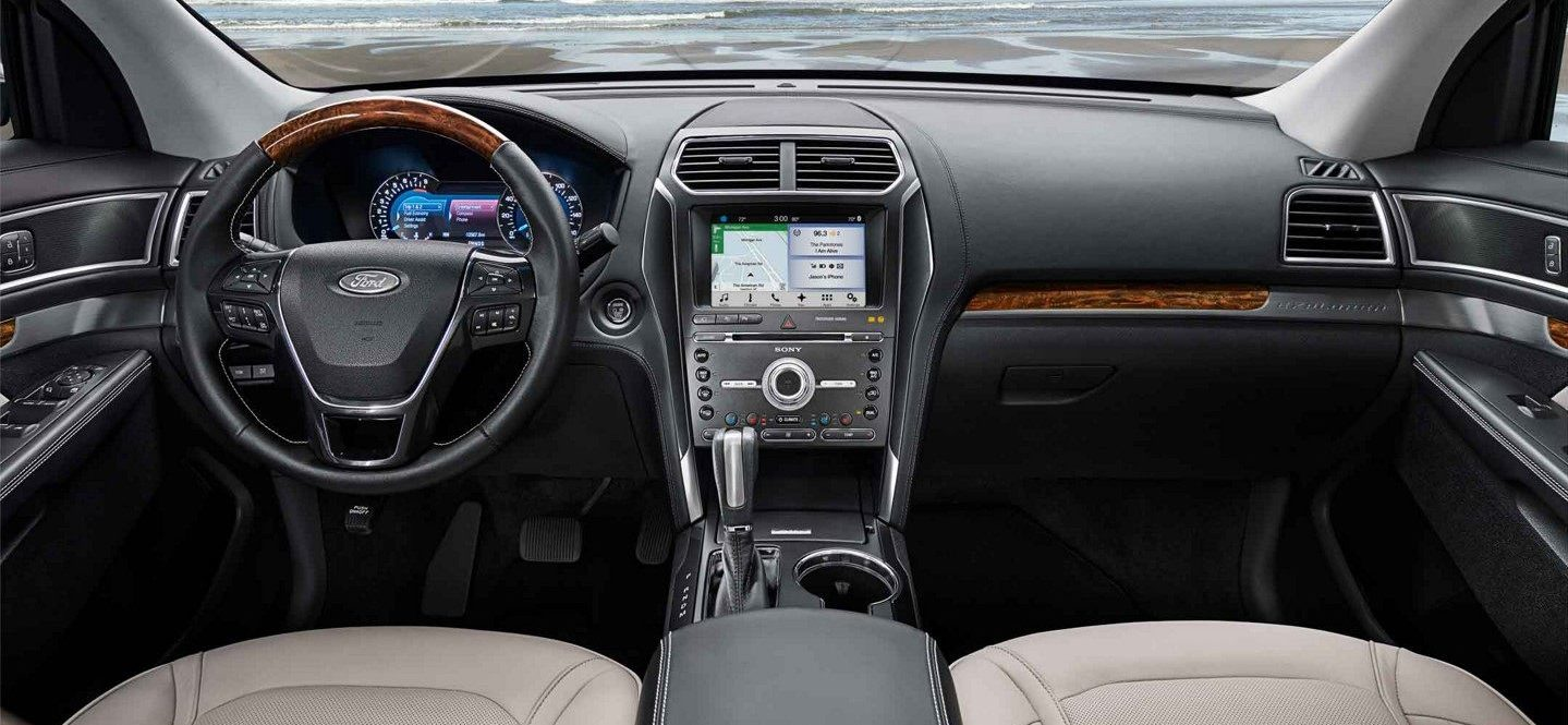 interior of the 2019 ford explorer with wood trim