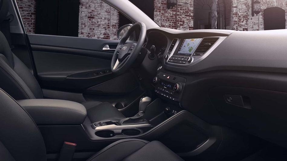 The stylish interior of the 2018 Hyundai Tucson, seen from the passenger's side