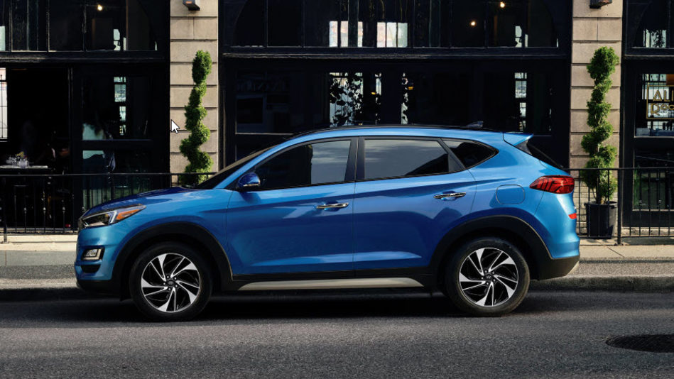 The redesigned 2019 Hyundai Tucson, stylishly parked curbside