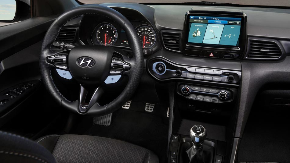 Hyundai Veloster N interior view of steering wheel and dashboard