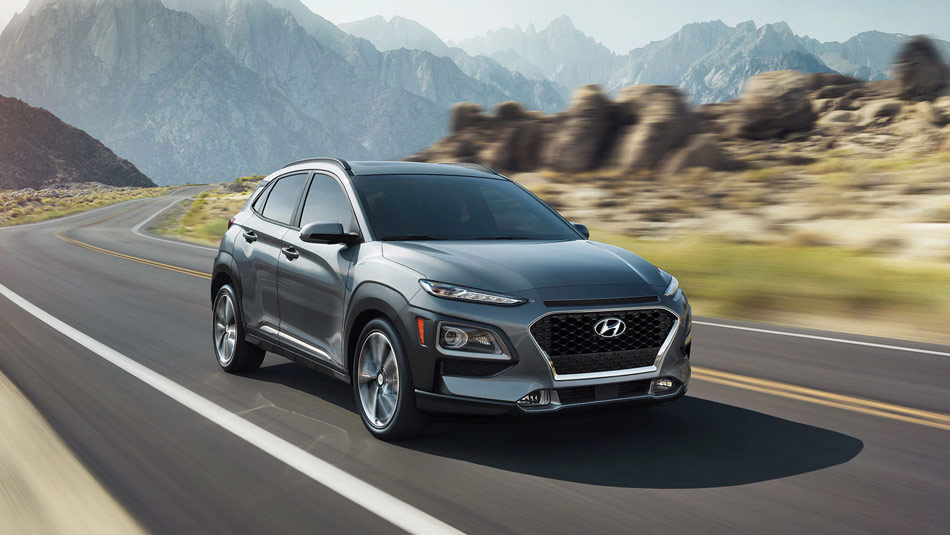 2020 Hyundai KONA in Lake Silver colour driving down highway
