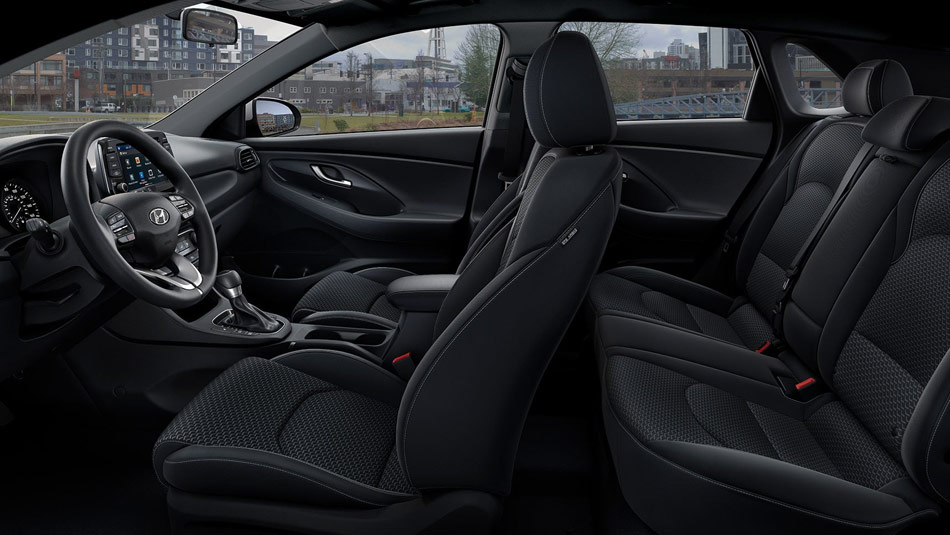 side view of 2019 Hyundai Elantra GT interior of seating layout
