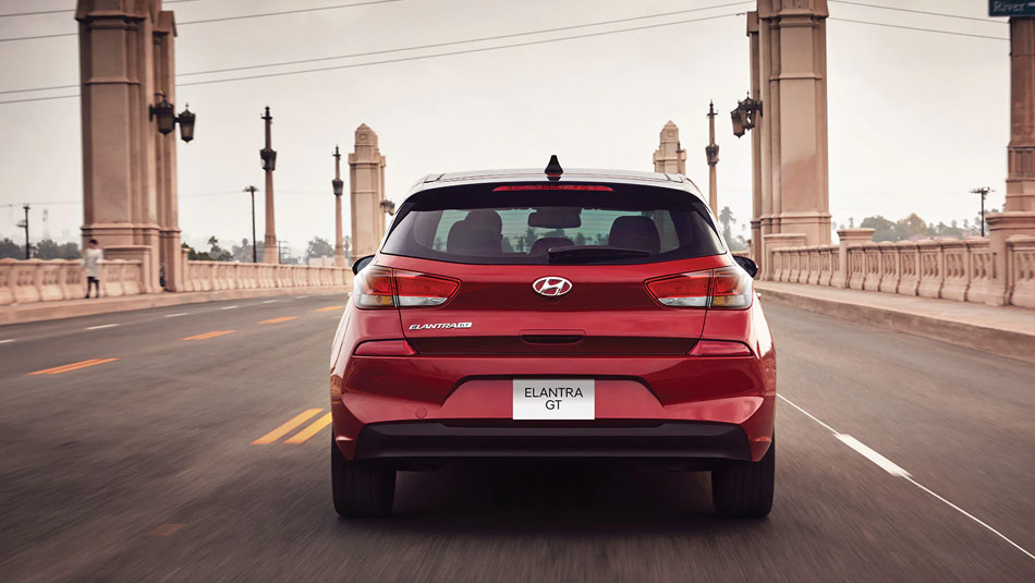 Rear view of a 2019 Hyundai Elantra GT