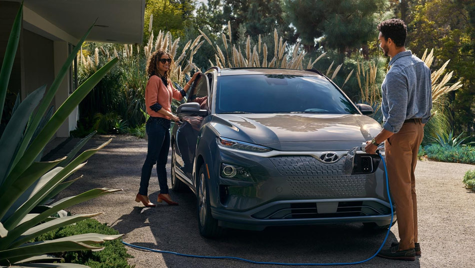 2019 Hyundai Kona Electric parked and charging