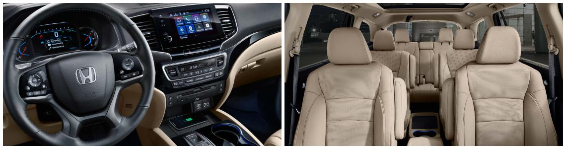 Left: 2019 Honda Pilot interior dashboard with touchscreen display. Right: 2019 Honda Pilot interior