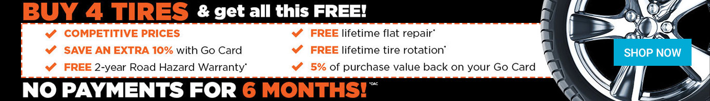 buy four tires get free stuff banner