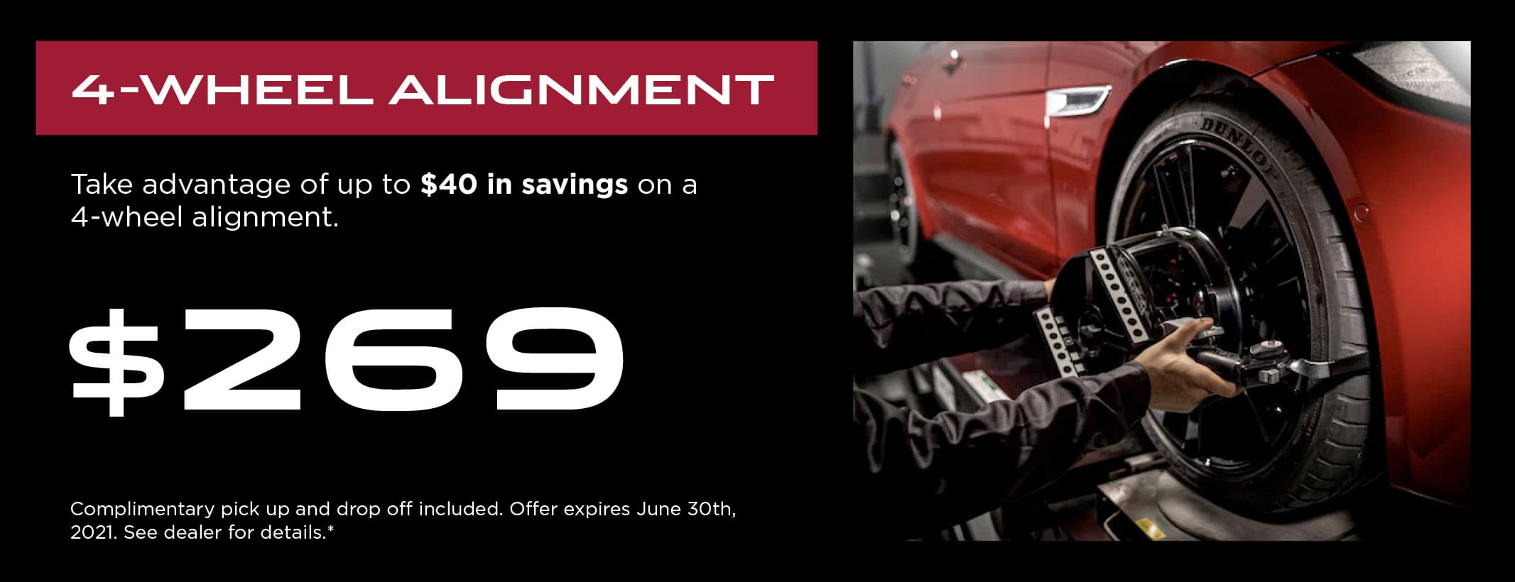 JLRL 4-Wheel Alignment Service Coupon Graphic