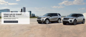 Demo Sales Event Slide Presenting A Land Rover Discovery and Range Rover Evoque